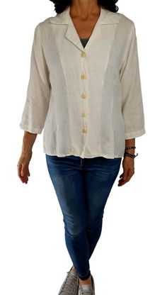 bfae6fbf7f1 FLAX S cream off white sweet 3 4 sleeve blouse button down slub linen shirt