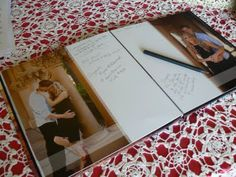 guest book made from engagement photos