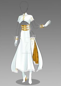 White and gold princess warrior dress