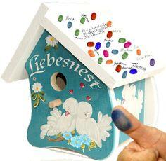 Gästebuch zur Hochzeit, Hochzeitsgeschenk, Hochzeitsspiel: Das Vogelhäuschen zur Hochzeit - Fingerabdrücke der Hochzeitsgäste auf dem Vogelhaus - das völlig neue Gästebuch zur Hochzeit (fingerprint art für den Hochzeitsbaum) von galleryy.net, http://www.amazon.de/dp/B00DKT6O5I/ref=cm_sw_r_pi_dp_PD4Osb0MFKVP3