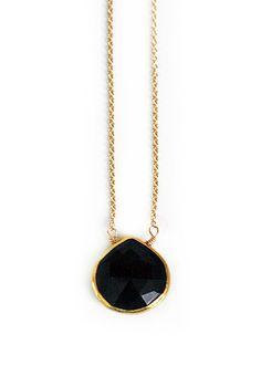 black ONYX bezel necklace - petite