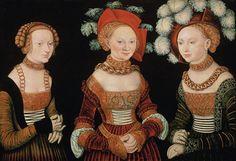 Lucas Cranach the Elder  Three Princesses of Saxony: Sibylla, Emilia and Sidonia c. 1535  © Courtesy Kunsthistorisches Museum, Vienna  Oil on limewood  62x89cm