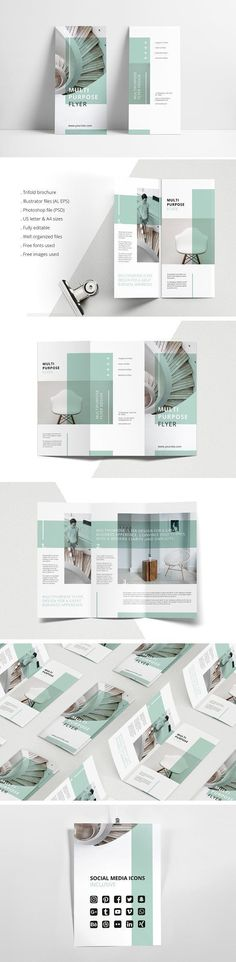 MINT Multipurpose Trifold Brochure by AgataCreate on @creativemarket Printing brochure template with one of the best creative design and great cover, perfect for modern corporate appearance for business companies. This layout is modern, simple and feminin