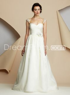 Glamorous Empire Capped-Sleeve Sweetheart Floor-Length Sweeping Wedding Dresses 2012 New Arrival