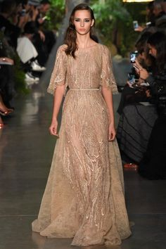 Elie Saab Spring Couture 2015 gold sheer lace gown