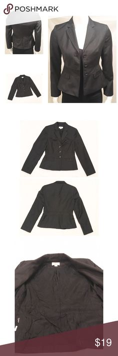 """Ann Taylor LOFT PETITES Suit Jacket Blazer Bl 0P Ann Taylor LOFT PETITES Pinstripe Fitted Wool Blend Lined Suit Jacket Blazer Black 0P  3 Button front closure  2 little pockets in front are functional!!!   ****No stains, holes, or really even wear. However, the inside lining is wrinkled.  Shoulder to shoulder measurement 14.5""""  Bust armpit to armpit measurement 16"""" Sleeve length from top shoulder to bottom sleeve hem 21.5""""  Waist at smallest part 14.5""""  From top center of the collar to the…"""