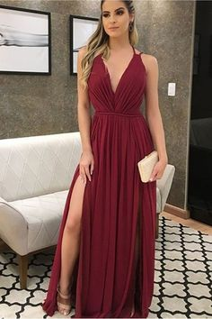 Cheap Vogue Long Prom Dress, V-Neck Bridesmaid Dress, Burgundy Prom Dress, Chiffon Bridesmaid Dress V Neck Prom Dresses, Prom Dresses 2017, Cheap Prom Dresses, Sexy Dresses, Bridesmaid Dresses, Formal Dresses, Dress Prom, Burgundy Bridesmaid, Chiffon Dresses