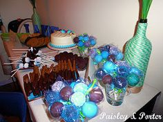 dessert table for nautical themed baby shower