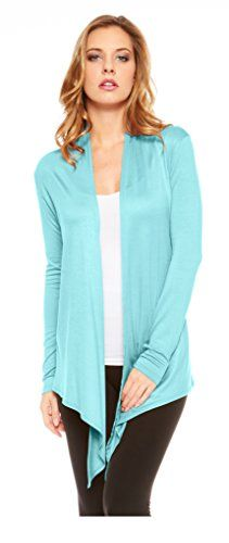 Red Hanger Womens Light Weight Open Front Drape Cardigan Sweater Made in USA Aqua1X *** You can find more details by visiting the image link.