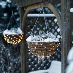 Christmas lights on hanging baskets
