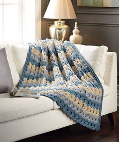 Airy fans and chevron stripes come together in this soft throw. Shown in (131) Azure/Light Grey/Soft Taupe or choose from any three colors.