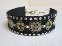 Jeweled Pet Accessory Necklace Collar Black by audreymivey on Etsy
