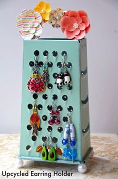 Easy Homemade Earring Holder from an Old Cheese Grater!
