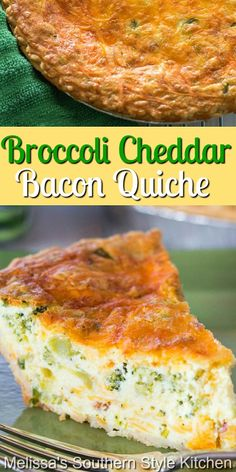 Enjoy a big piece of this Broccoli Cheddar Bacon Quiche for any meal of the day #cheddarbroccolibaconquiche #broccolicheddar #quiche #cheddarquiche #bacon #bestquicherecipes #brunch #breakfast #dinner #dinnerideas #broccoli #southernrecipes #southernfood