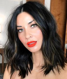9 Fall Hair Color Trends You'll Love for 2017 For a fresh take on this fall favorite, try warming up jet-black with ribbons of chestnut highlights. A few piecey, cool-toned strands like Olivia Munn's look especially stellar on olive skin tones. Fall Hair Colors, Cool Hair Color, Hair Colours, Hair Color Black, Medium Hair Styles, Short Hair Styles, Bun Styles, Popular Haircuts, Hair Lengths