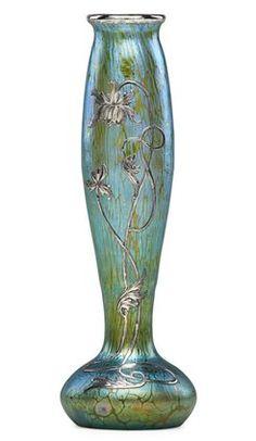 Loetz Glass; Vase, Iridescent Blue, Silver Floral Overlay, 9 inch.
