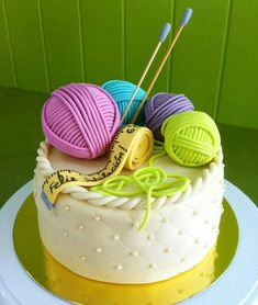 Use bright, vibrant colours to really make your cake stand out. Crazy Cakes, Fancy Cakes, Mini Cakes, Pretty Cakes, Cute Cakes, Fondant Cakes, Cupcake Cakes, Fondant Toppers, Knitting Cake