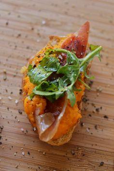Sweet potato bruschetta with crispy prosciutto.