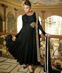 Buy Black Faux Georgette Ankle Length Anarkali Suit 75921 online at lowest price…