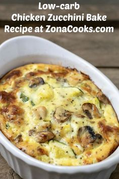 This Chicken Zucchini Bake has a delicious blend of diced chicken, zucchini, and mushrooms mixed with shredded Italian cheese blend, sour cream, green onion, and egg seasoned with basil, salt, and fresh ground black pepper. This easy to prepare recipe is low-carb and makes a great breakfast, lunch, or dinner for two. Healthy Chicken Recipes, Turkey Recipes, Low Carb Recipes, Cooking Recipes, Quick Lunch Recipes, Healthy Vegetable Recipes, Chicken Meals, Supper Recipes, Heart Healthy Recipes
