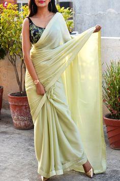 Buy Pastel Lime Green Silk Georgette Dupion Silk Taping Saree Online in India Lehenga Saree, Saree Dress, Net Saree, Sari Blouse, Bollywood Saree, Floral Blouse, Printed Blouse, Indian Dresses, Indian Outfits