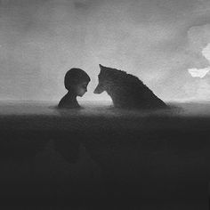 The Indonesian artist Elicia Elidanto creates watercolor paintings that depict the intimate relationship between children and animals. Her black and white watercolors show silhouettes of young children standing in front of creatures, at once majestic and dangerous. https://www.behance.net/eliciaedijanto