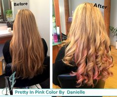 """Pretty in Pink Hair Color. Our hairstylist Danielle did such a great job on this gorgeous blonde hair. Adding pink to the bottom half of the hair for a """"peek-a-boo"""" look. Even better is that it grows out so simply! No commitment of roots to care for."""