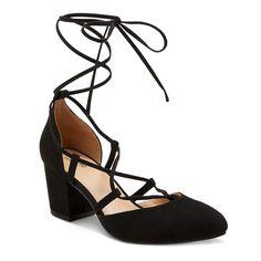 Women's Floris Block Heel Lace Up Ghille Pumps - Black 5.5, Size: 10