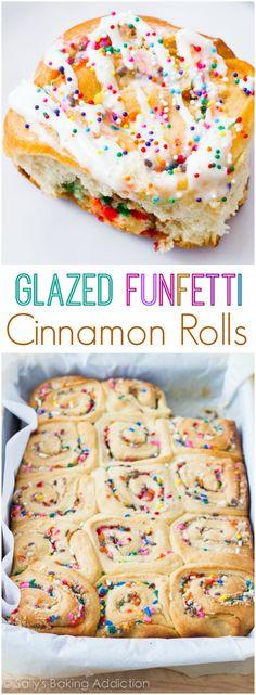 Glazed Funfetti Cinnamon Rolls from Scratch on sallysbakingaddiction.com-- these are simply incredible! Birthday morning breakfast, anyone?