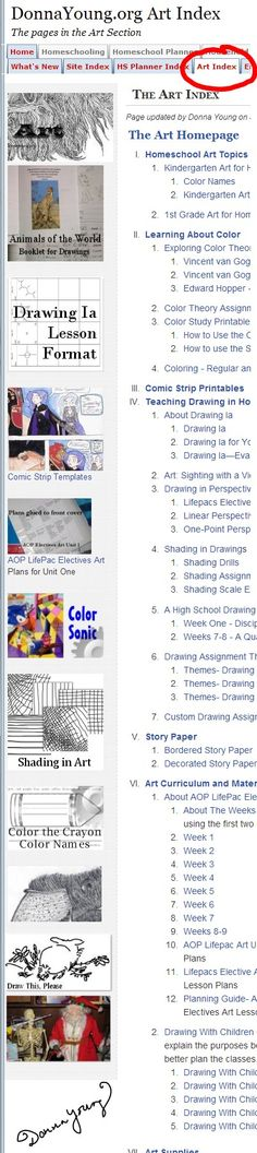 Index of the Pages in the Art Section at DonnaYoung.org - I  try to remember to update this page when I add something to my Art section at DY - Donna Young S Planner, Fine Art Drawing, La Art, Try To Remember, Arts Ed, School Teacher, Color Names, Art Education, Lesson Plans