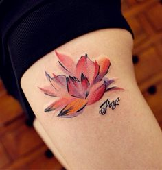 You may find a lot of popular tattoos out there and one is undoubtedly the lotus tattoo design. What makes the lotus design a preferred subject of a tattoo? Pink Lotus Tattoo, Lotus Flower Tattoo Design, Lotus Design, Watercolor Lotus Tattoo, Watercolor Water, Flower Watercolor, Sexy Tattoos, Body Art Tattoos, Thigh Tattoos