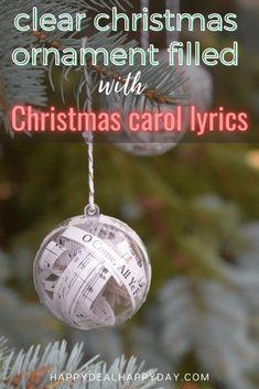 Christmas Carol Lyrics Filled Christmas Ornament | Happy Deal - Happy Day!