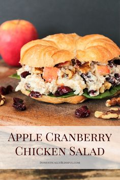 This Apple Cranberry Chicken Salad is a vegetarian twist on the classic chicken salad sandwich! I have a confession to make. Sometimes I think meat looks good. Even though I was born & raised Quick Healthy Snacks, Healthy Dinner Recipes, Vegetarian Recipes, Healthy Eating, Cooking Recipes, Easy Recipes, Cooking Ideas, Apple Recipes, Healthy Food