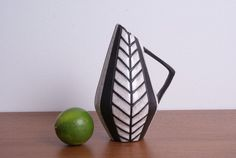 "Vase Pitcher from the danish pottery Michael Andersen & Son ""Negro""- or ""Tribal""- range. Design by Marianne Starck. Model 5508."