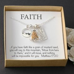 FAITH like a mustard seed necklace sterling by AffirmationsJewelry
