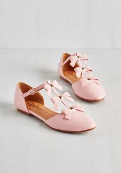 See it to Bow-lieve It Flat in Pink - Pink, Solid, Bows, Darling, Good, T-Strap, Flat, Faux Leather