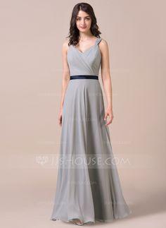 09f51465091 A-Line Princess Sweetheart Floor-Length Chiffon Charmeuse Bridesmaid Dress  With Ruffle Sash