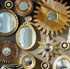 Gold mirrors on wall. #decor #decoration #interior #design #style #antique #frame #collection #antique