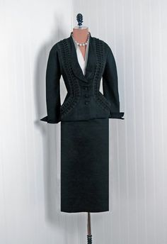 Formal Suit, Rosita Contreras, Milano, Roma: 1940's, Italian, soutache braiding detailed silk faille, silk underlay faux blouse.