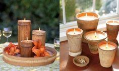 Candele in contenitori in legno