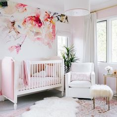 It finally made it back above 30 degrees today...it has been so cold today feels like Spring! So does this beautifully feminine nursery by @tameramowrytwo featuring  @newportcottages and @oilostudio!!