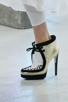 Rodarte white and gold High Heels Booties #shoes #runway #fashion