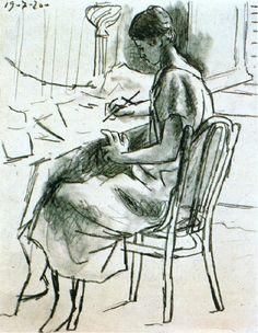 Pablo Picasso. Olga ecrivant. 1920 year