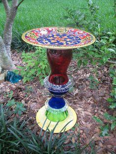 Recycled glassware birdbath