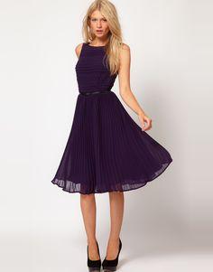 Oasis Stripe Lace Dress (ASOS, $146.59) - crew neckline, striped bodice with lace panels, accordion pleats, dipped back, indigo, ladylike.