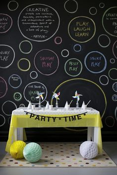 Beautiful art and party space at habitots. Blackboard wall so great to change and refresh each week.