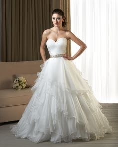 Stylish layered ball gown wedding dress