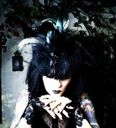 Nevermore Gothic Exotic Taxidermy Avian Hat in Black with Veil