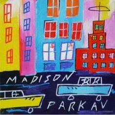 tableau : PETIT TRAFIC par THIERRY ROUXEL - DC20615PE109 #ville #city #art #contemporain