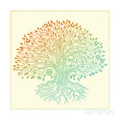 Beautiful Vintage Hand Drawn Tree Of Life Stampe di transiastock su AllPosters.it